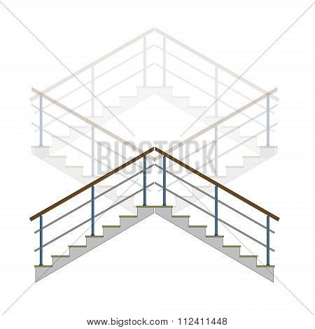 Stair With Handrails, Stairs, Ladder In Vector