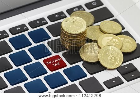 income tax button or key