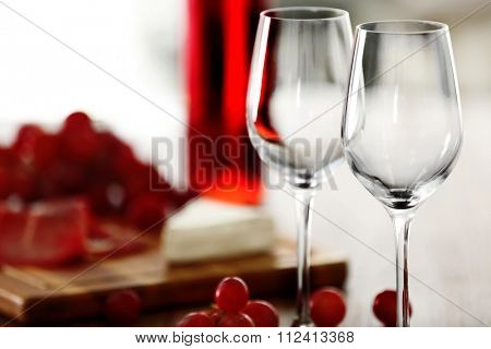 Two wineglasses with grape, close-up