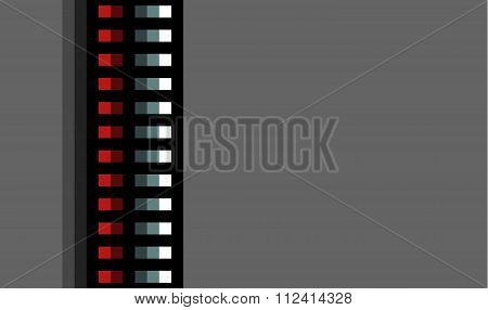 Steel Techno Tubes With A Red Light On Gray