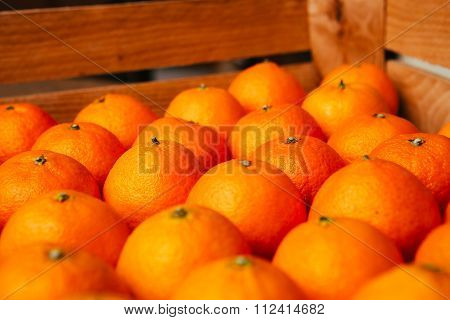 Fresh Fruit Tangerines In A Wooden Box
