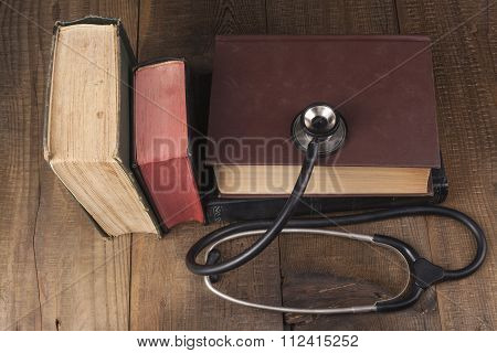 Old Books And Stethoscope