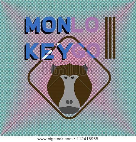 Logotype With Head Of Monkey. Baboon. Aggressive Logotype.
