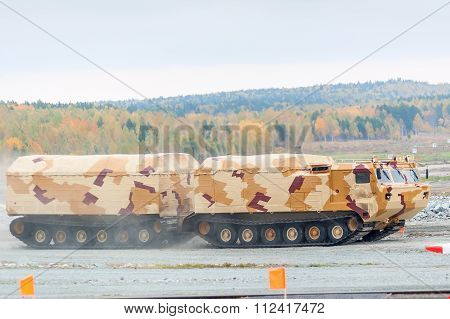 Tracked carrier DT-30P1 in motion. Russia