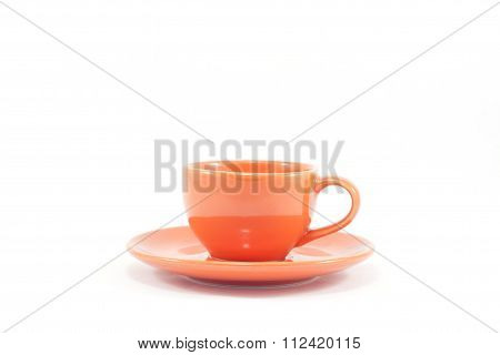 Orange Coffee Cup Isolated On White Background