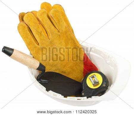 Construction worker supplies including hard hat