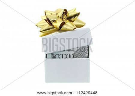 A white box with golden gift ribbon partially opened, with new United stated 100 bill inside,  isolated on white background