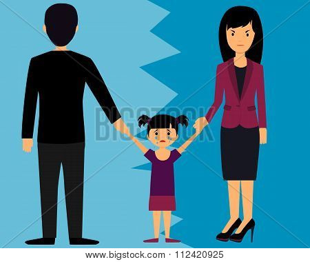 The concept of divorce. Parents divide child. Vector illustration