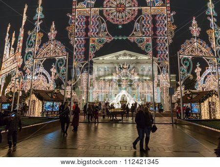 Moscow, Russia - December 23, 2015:  Light installations  for Christmas and New Year holidays on Theatre square near Big Bolshoy theatre