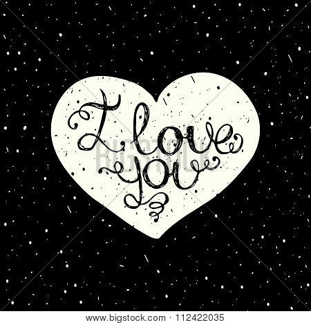 I love you with hand lettering on the heart.