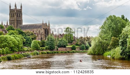 Worcester Cathedral And The River Severn In England.