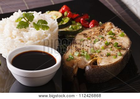 Asian Food: Steak Fish, Rice And Soy Sauce Close-up. Horizontal