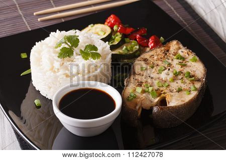 Japanese Food: Steak Fish And Rice Close-up On A Plate. Horizontal