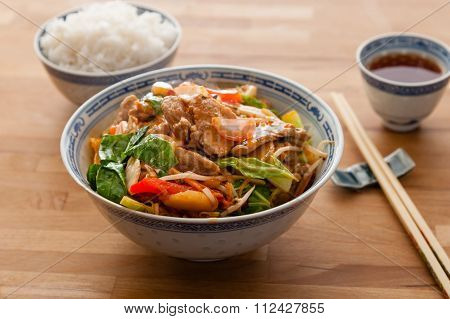 Chinese style stir fry pork with rice