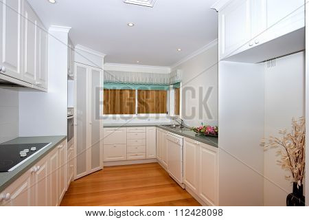 Empty White Kitchen