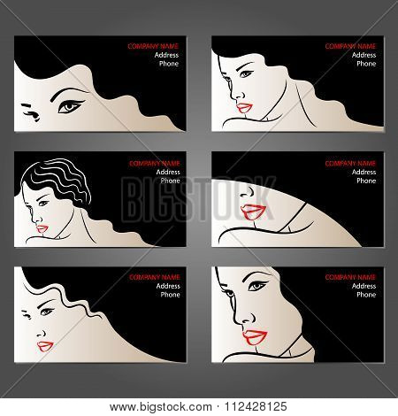 Set  Of Business Cards For Beauty Salons, Make-up Artists, Hairdressers And Stylists.