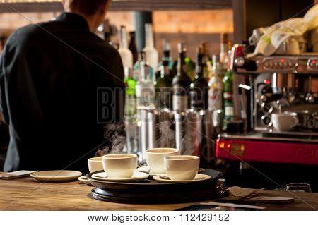 Coffee Cups On Bar