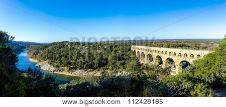 Pont Du Gard Is An Old Roman Aqueduct Near Nimes