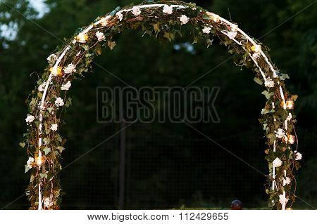 Elegant Fresh Floral Wedding Aisle Archway With Leaves Flowers A