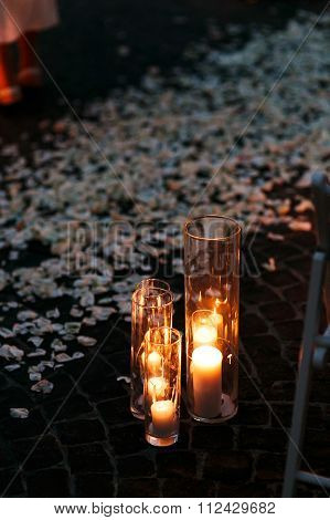 Fairytale Romantic Wedding Aisle With White Candles And Petals I