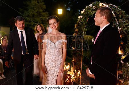 Happy Emotional Groom And Beautiful Bride At Romantic Evening We