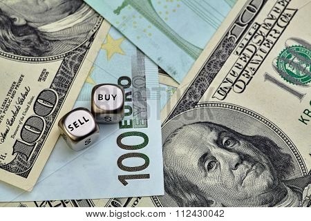 Euro, Usd Banknotes And Dices Cubes