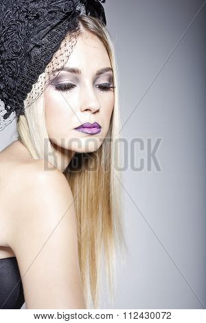 Beautiful Woman Wearing A Hat With Veil
