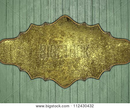 Wooden Background With Golden Plate. Element For Design. Template For Design. Copy Space For Ad Broc