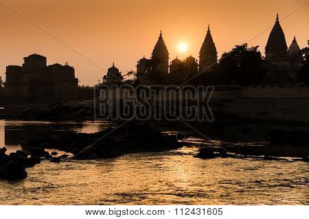Cenotaphs  Betwa River, Orchha.