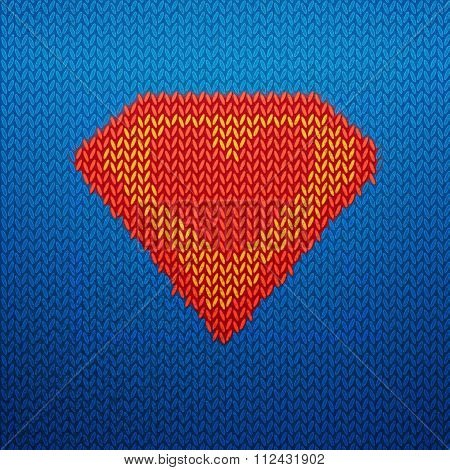 Knited superman icon with heart shape