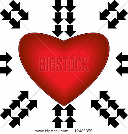 Big Red Heart With Arrows