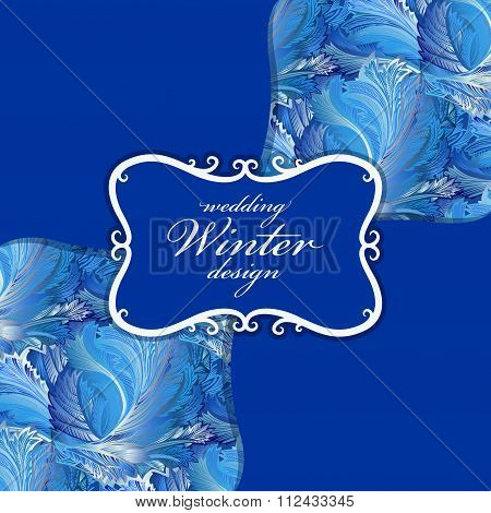 Winter frozen glass background pattern. Vintage label design.