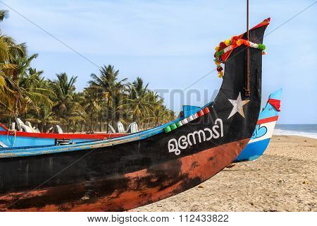 Indian fishing boat on the Beach