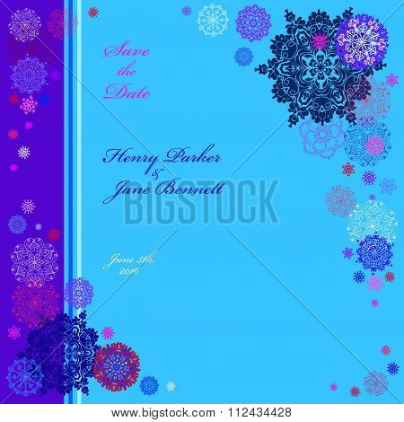Winter wedding frame with cyan and blue snowflakes.