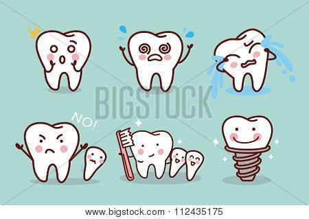Cute Cartoon Tooth Expression