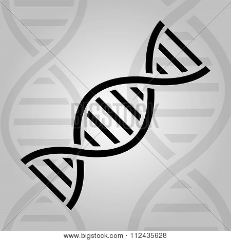 Simple Dna Icon On Grey Background. Vector Illustration.