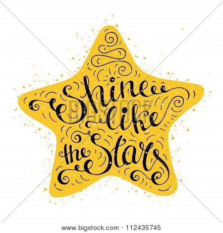 Black And White Doodle Typography Poster With Star