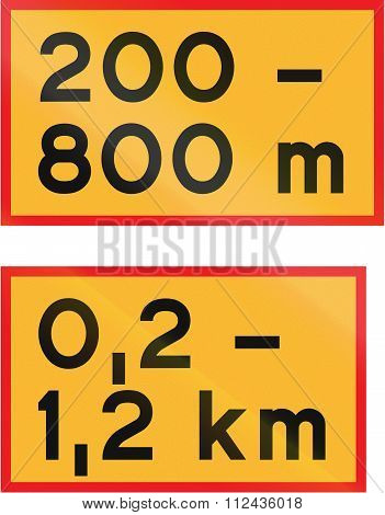 Road Signs Used In Sweden - Length Of Stretch Of Road Beginning At Specified Distance From Sign