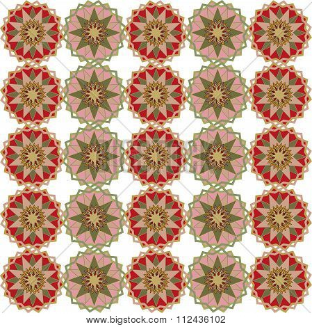 Seamless symmetric background. Circles, triangles, rhombuses, cool colors, pink, khaki, red, burgund