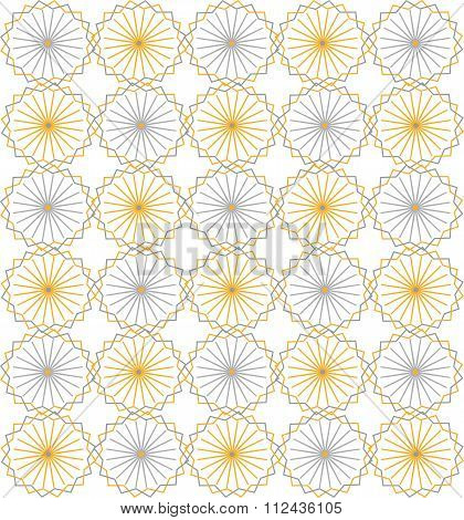 Seamless symmetric background. Circles, triangles, rhombuses, pastel colors, yellow blue