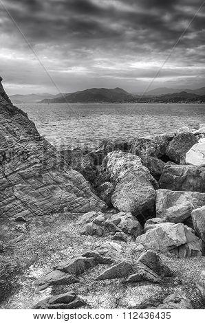 Ligurian seashore, wintertime. Black and white photo