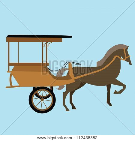 horse carriage cart asia vector delman old traditional transportation indonesia