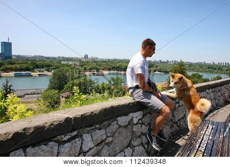 Man Dog And River