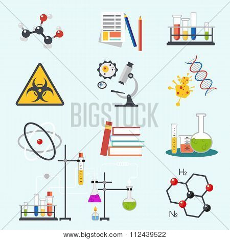 Chemical laboratory science and technology flat style design vector illustration icons. Workplace to