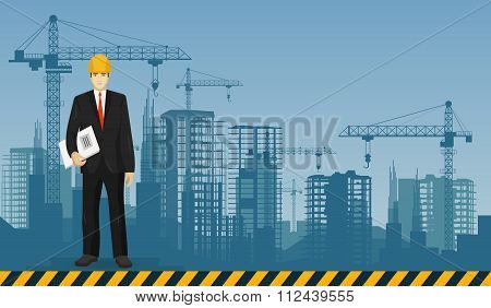 Builder man manager worker on the constructions buildings background. Construction and building prof