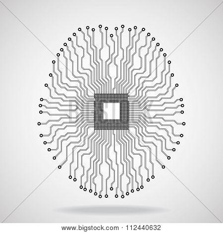 Brain. Cpu. Circuit board