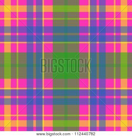 Vector seamless scottish tartan pattern in pink blue gren and yellow. British or irish celtic design