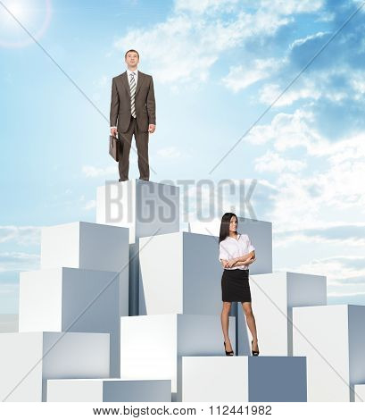 Business people on boxes pile