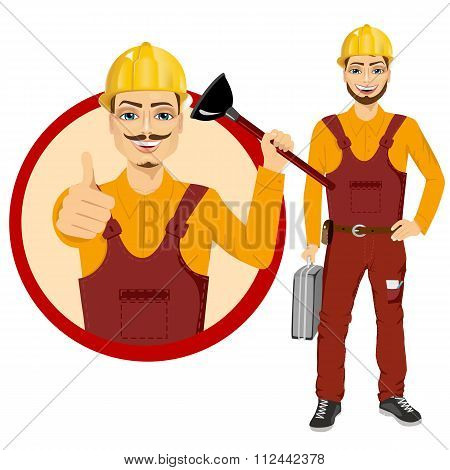 plumber holding plunger in uniform holding tool box