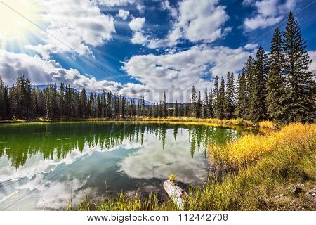 Great morning sun is reflected in the smooth water. On shores of the lake grow coniferous forests. Jasper National Park in the Rocky Mountains
